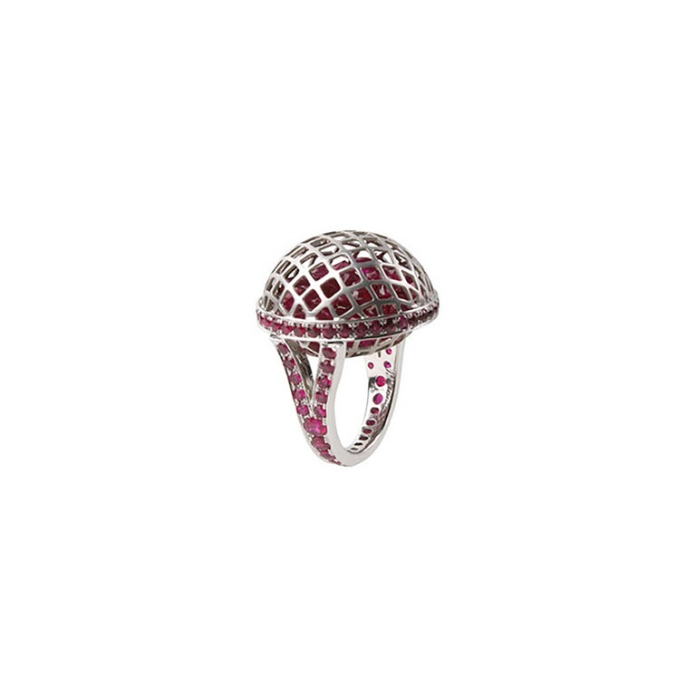 18 Karat White Gold Ballet Russes Cocktail Ring with Rubies
