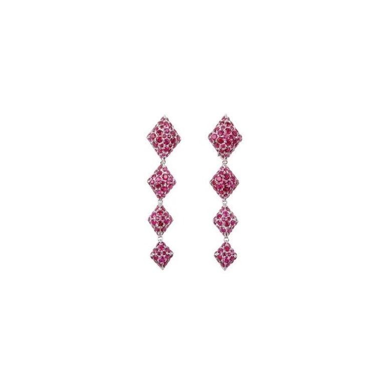 Youmna Fine Jewellery 18 Karat White Gold Harlequin Earrings with Rubies