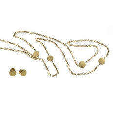 Youmna Fine Jewellery 18 Karat Yellow Gold Necklace and Stud Earrings Set