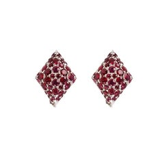 Youmna Fine Jewellery 18 Karat White Gold Harlequin Stud Earrings with Rubies