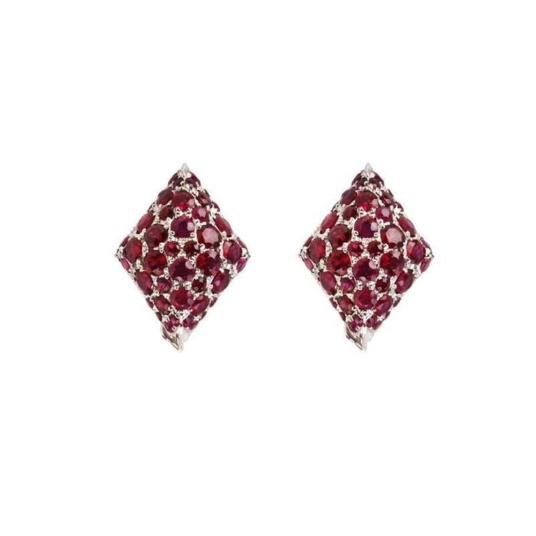 Youmna Fine Jewellery 18 Karat White Gold Harlequin Stud Earrings with Rubies