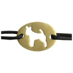 "Youmna Fine Jewellery 18 Karat Yellow Gold ""Hunting Dog"" Cord Bracelet"