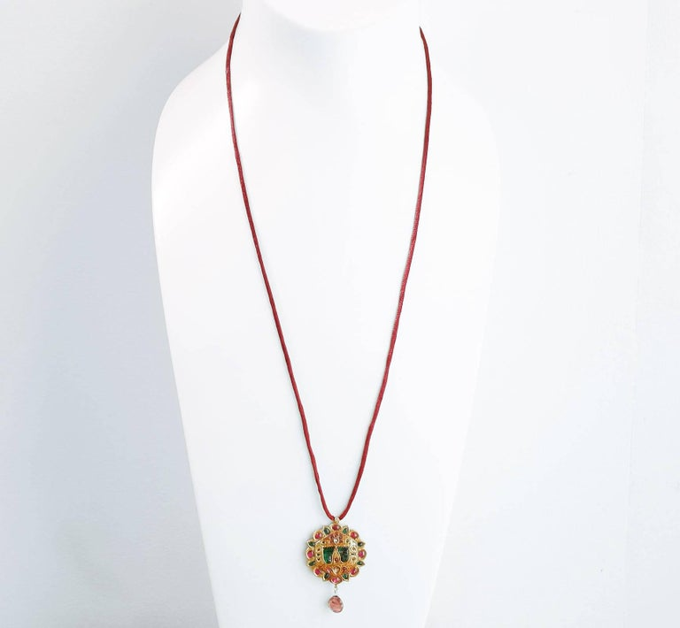 Contemporary Diamond, Ruby and Gold Rajasthan Pendant Necklace For Sale