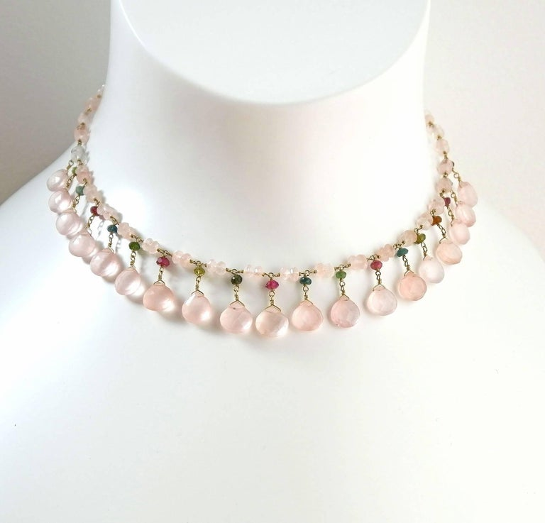 Dancing Apsara Rose Quartz, Yellow Gold and Tourmaline Bead Necklace 2