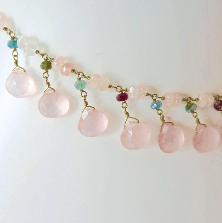 Dancing Apsara Rose Quartz, Yellow Gold and Tourmaline Bead Necklace 3