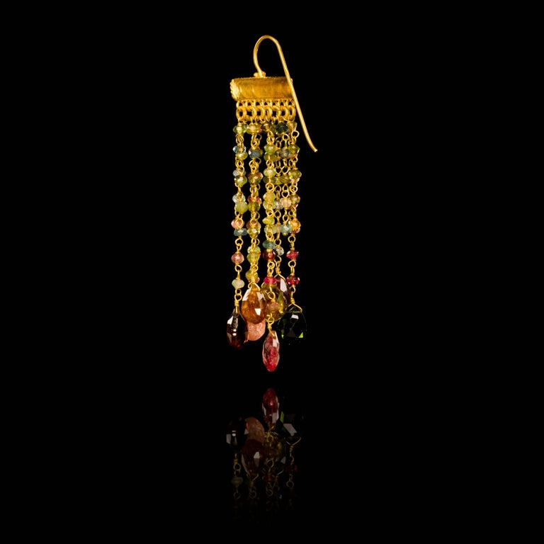 Contemporary Dancing Apsara Tourmaline and Gold Chandelier Bead Earrings For Sale