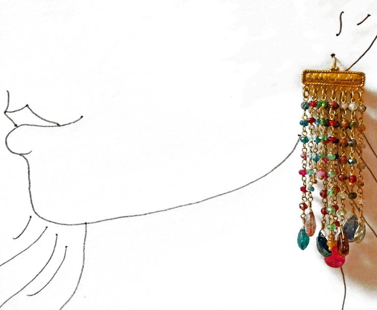 Dancing Apsara Tourmaline and Gold Chandelier Bead Earrings In As New Condition For Sale In Floragatan14, Stockholm