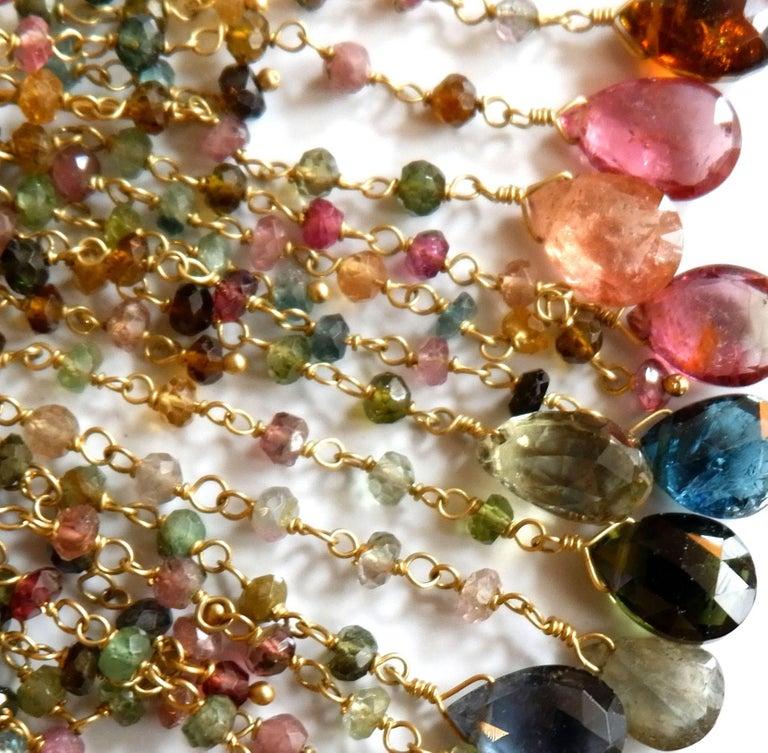 Women's Dancing Apsara Tourmaline and Gold Chandelier Bead Earrings For Sale