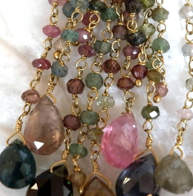 Dancing Apsara Tourmaline and Gold Chandelier Bead Earrings For Sale 1