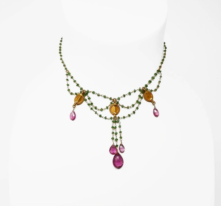 Dancing Apsara Tsavorite and Rubelite Bead Drop Festoon Necklace 2