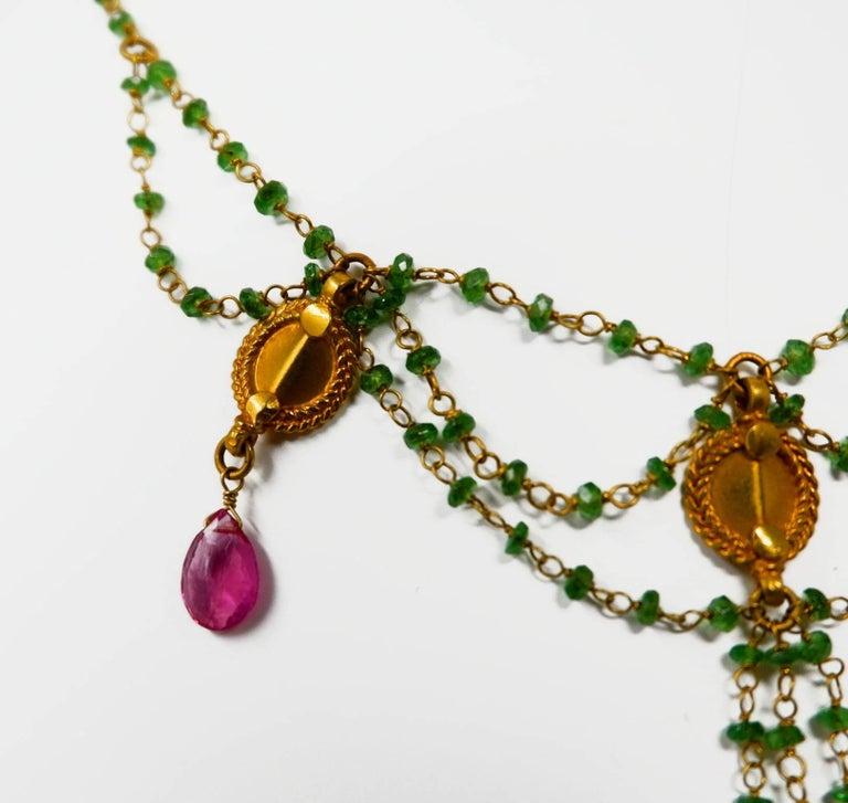 Dancing Apsara Tsavorite and Rubelite Bead Drop Festoon Necklace 3