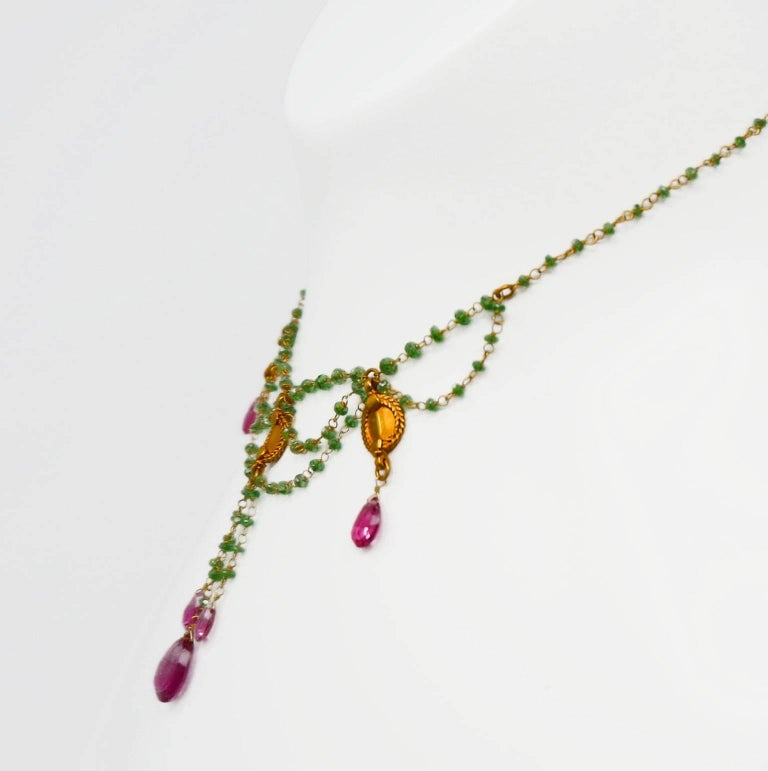 Dancing Apsara Tsavorite and Rubelite Bead Drop Festoon Necklace 4