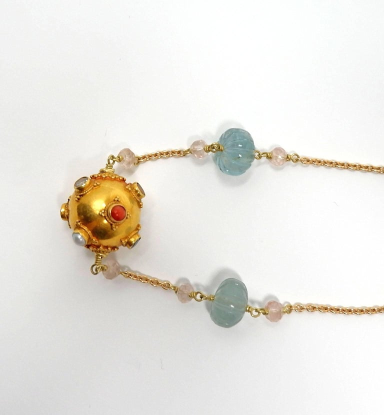 Dancing Apsara Beryl Aquamarine Gold and Precious Stone Sautoir Bead Necklace In New Condition For Sale In Floragatan14, Stockholm