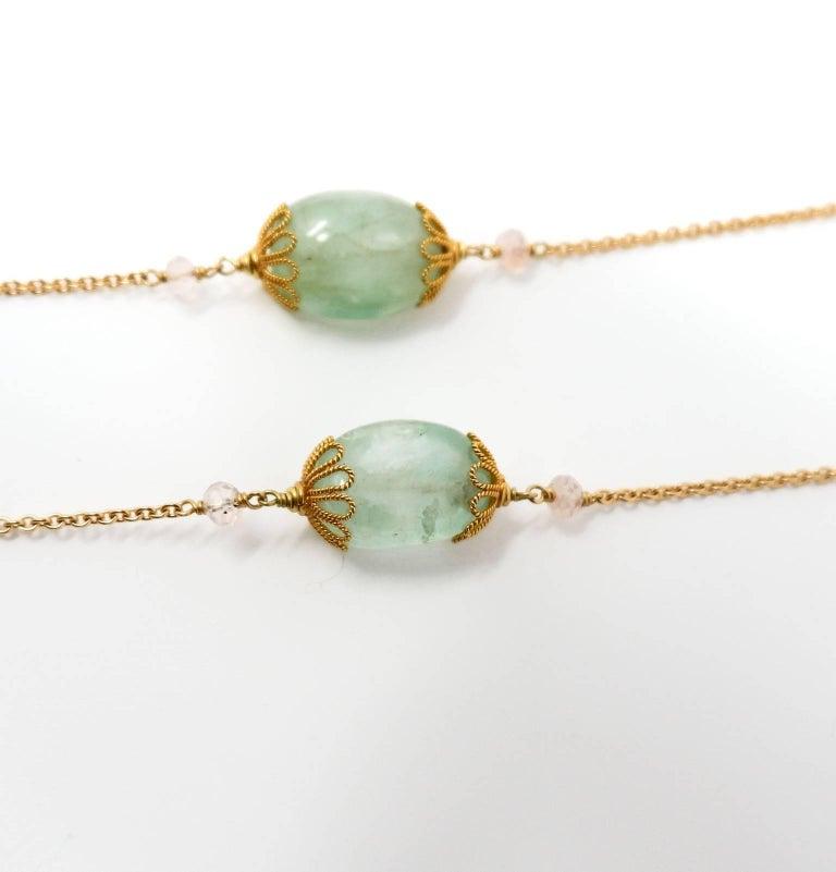 Contemporary Dancing Apsara Beryl Aquamarine Gold and Precious Stone Sautoir Bead Necklace For Sale