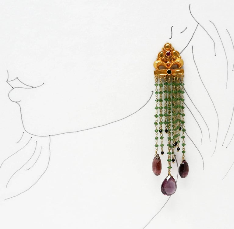 Contemporary Tsavorire, Tourmaline, Ruby and Gold Bead Earrings For Sale