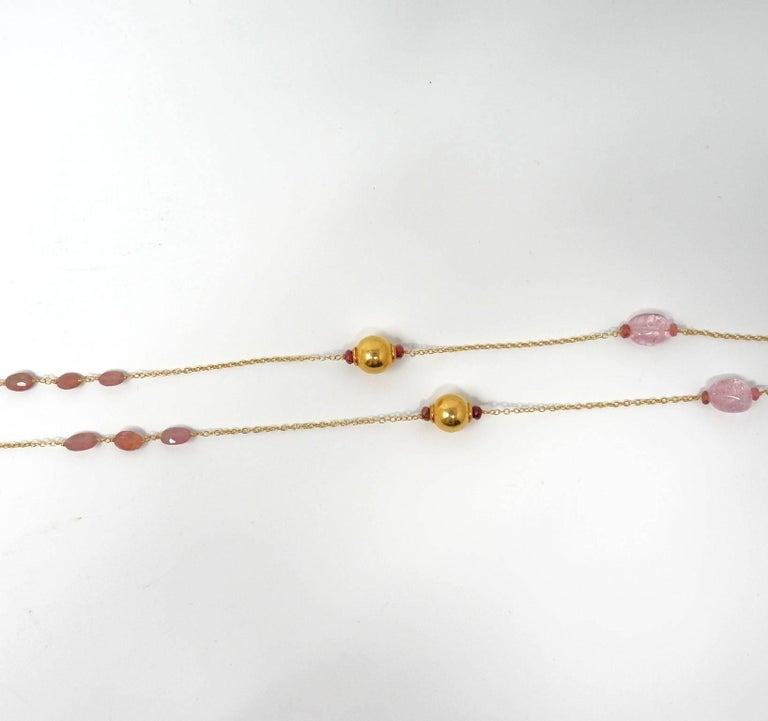 Women's Dancing Apsara Pink Beryl and Rubellite Gold Bead Sautoir Necklace For Sale