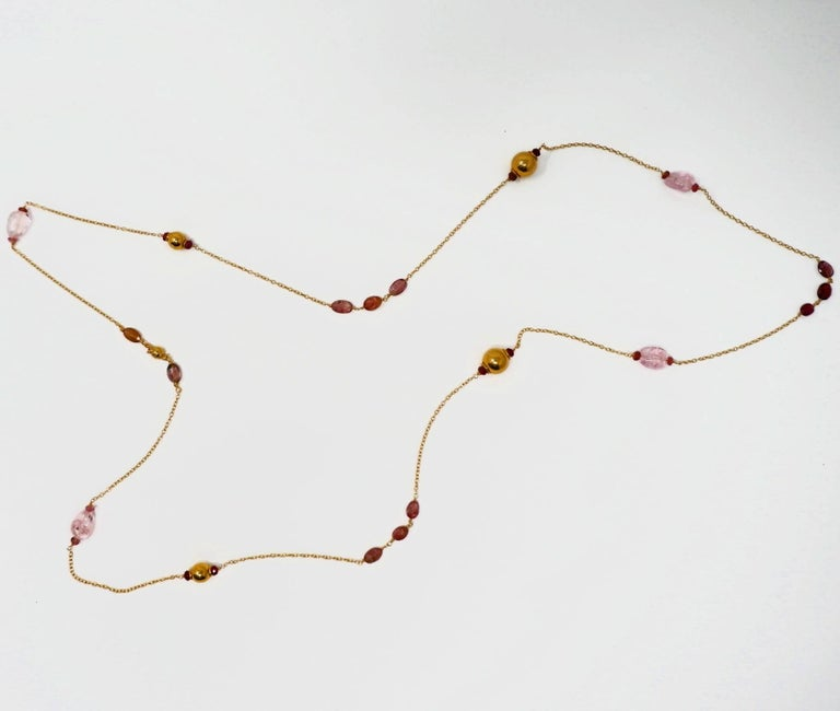 Contemporary Dancing Apsara Pink Beryl and Rubellite Gold Bead Sautoir Necklace For Sale
