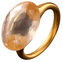 Rose Quartz and Brushed 18K Gold Cocktail Ring