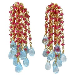Red Spinel Blue Topaz and Yellow Gold Bead Drop Earrings