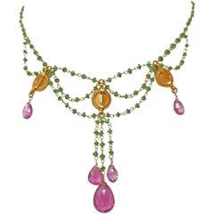 Tsavorite and Rubelite 18 Karat Yellow Gold Bead Drop Festoon Necklace
