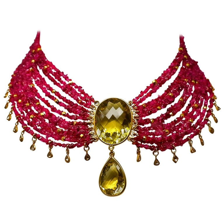 Ruby Diamond Citrine and Gold Bead Drop Necklace
