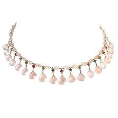 Rose Quartz 18 Karat Yellow Gold and Tourmaline Bead Necklace
