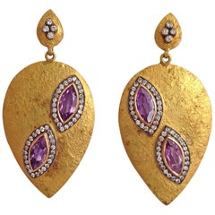 Diamond Yellow 18 Karat Yellow Gold Silver and Amethyst Earrings