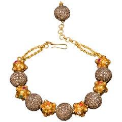 Diamond Silver Gold Precious Stone Bead Bracelet