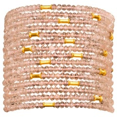 Rose Quartz and Gold Bead Cuff Bracelet
