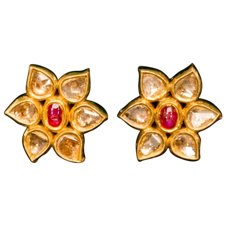 Diamond Spinel and Gold Flower Stud Earrings
