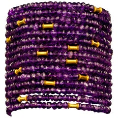 Gold and Amethyst Cuff Bead Bracelet