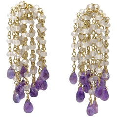 18 Karat Chalcedony and Amethyst Gold Bead Earrings
