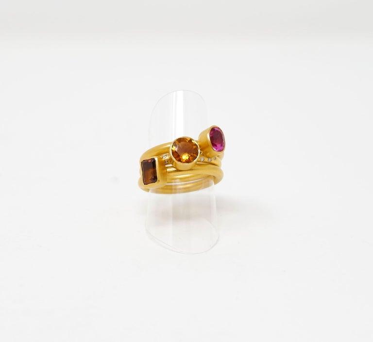 Tourmaline And 18 Karat Gold Stacking Ring For Sale At 1stdibs