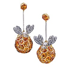 Ark Design Diamonds, Citrines, Yellow Gold, Silver, Drop Earrings