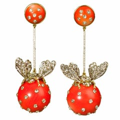 Ark Design, Diamonds, Coral 18 Karat Yellow Gold, Silver, Drop Earrings