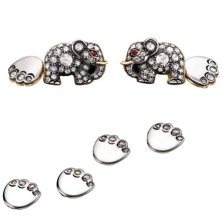 Ark Design, Diamonds, Rubies, Yellow Gold and Silver Cufflinks