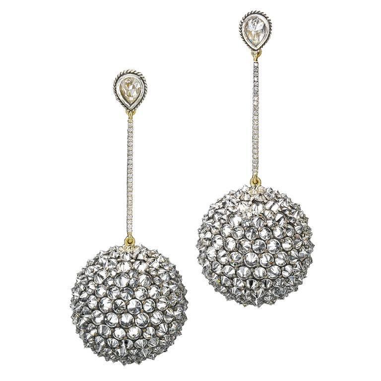 Ark Design Drop Earrings Diamonds 18 Karat Gold Silver For