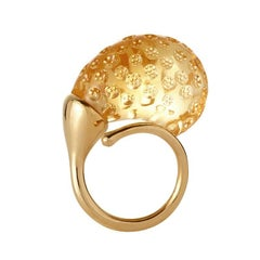 Rose Bud Ring in 18 Karat Yellow Gold and Citrine