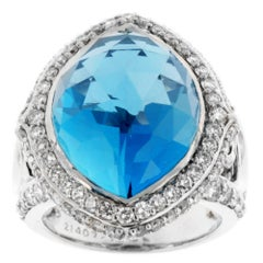 Zorab Creation 22.90 Carat London Blue Topaz Diamond Cocktail Ring