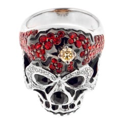 Zorab Creation Red Sapphire Spinel with Diamonds Skull Cocktail Ring