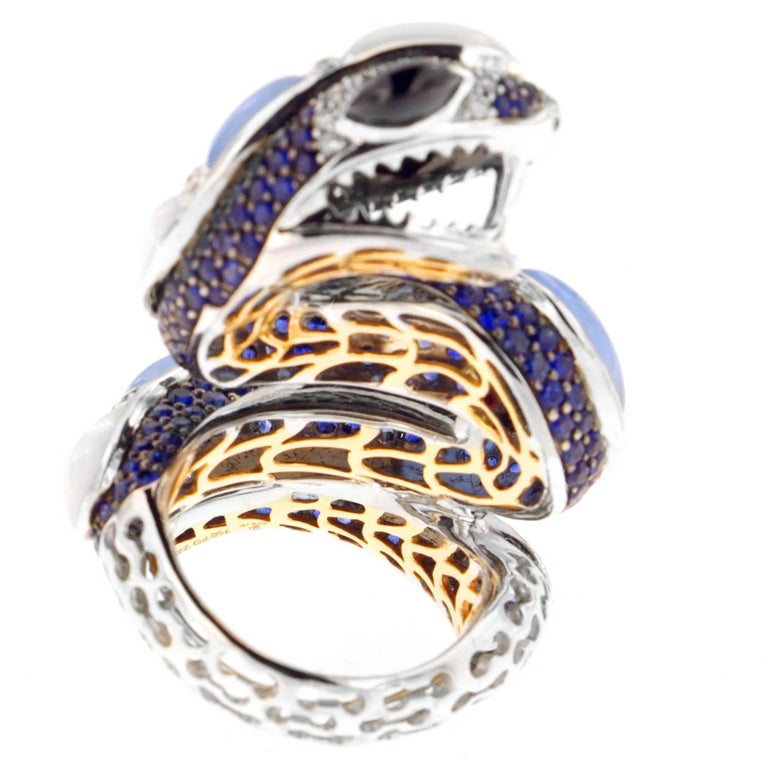 Zorab Creation, Chalcedony, Jade, Sapphire and Diamond Pastel Python Ring In New Condition For Sale In San Diego, CA