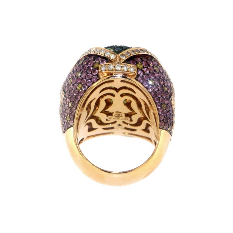 Zorab Creation Garnet Pink Sapphire Diamond Cocktail Ring In New Condition For Sale In San Diego, CA