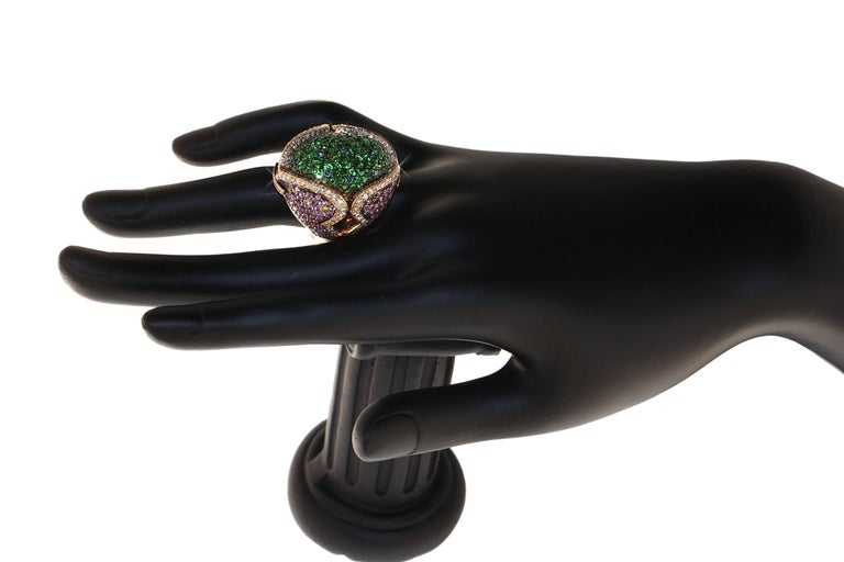 Contemporary Zorab Creation Garnet Pink Sapphire Diamond Cocktail Ring For Sale