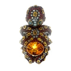 Zorab Creation Red and Yellow Sapphire Diamond Octopus Gold Ring