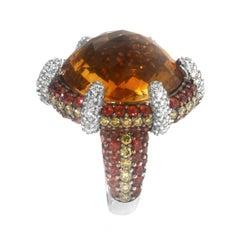 Zorab Creation  21.19 Carat Citrine Diamond Sapphire Dome Cocktail Gold Ring