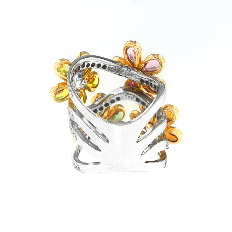 Women's Zorab Creation Blooming Sapphire Flowers with Yellow Diamonds Ring For Sale
