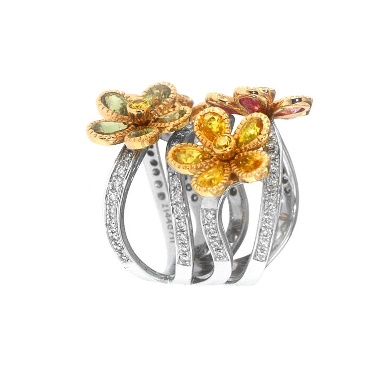 Contemporary Zorab Creation Blooming Sapphire Flowers with Yellow Diamonds Ring For Sale