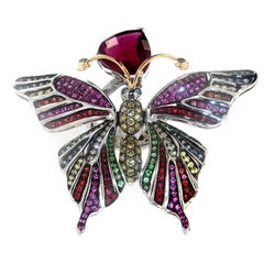Zorab Creation Ruby Multi-Color Sapphire Garnet Diamond Butterfly Cocktail Ring