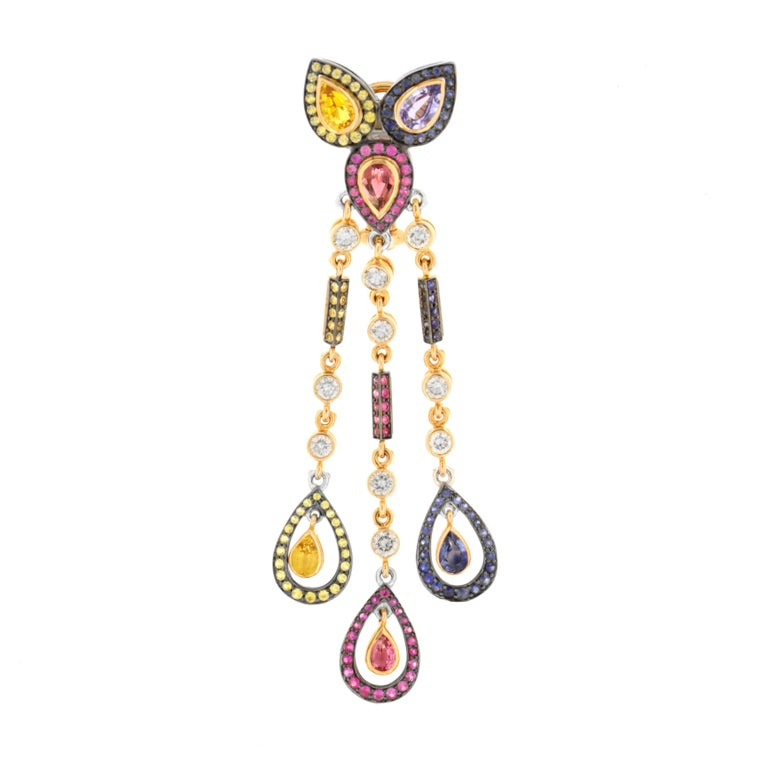 Unleash the mischievous and fantastical from within and have fun wearing Zorab's colorful, whimsical, and stunning pair of dangle earrings featuring 2.21 carats of White Diamonds, 2.17 carats of Blue Sapphire, 1.70 carats of Pink Tourmaline, 1.23