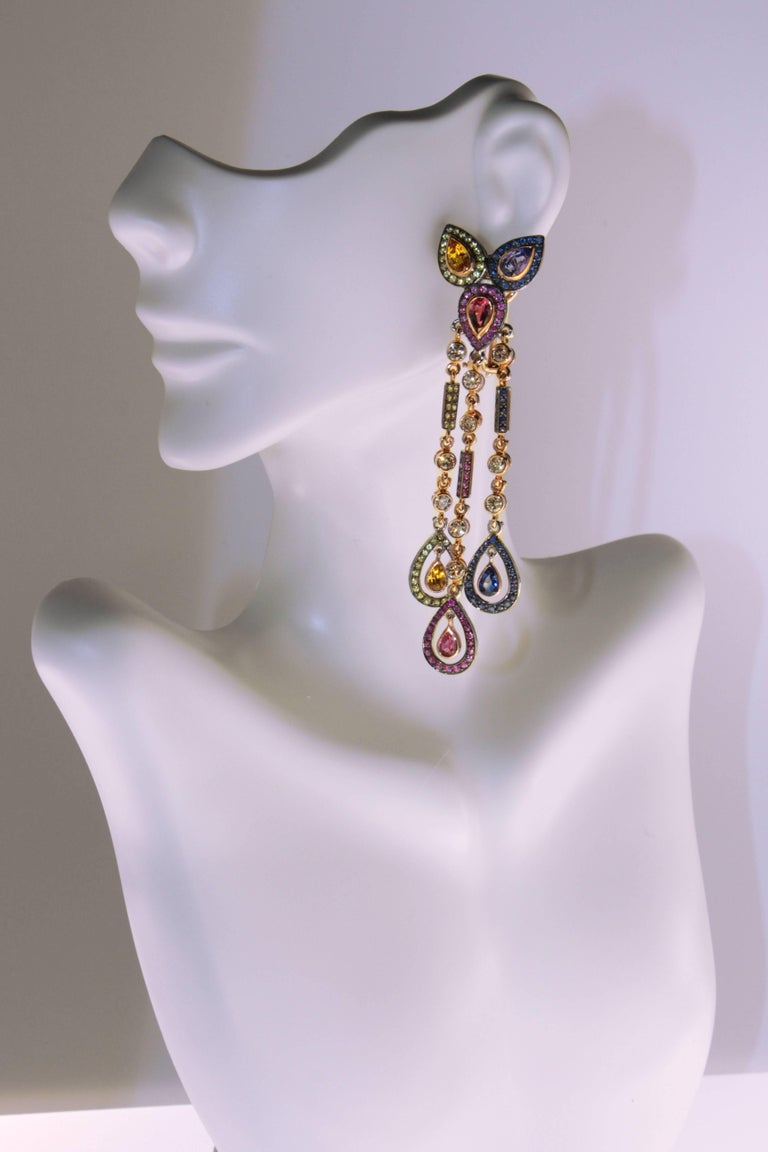 Zorab Creation Sapphire Blue Pink Tourmaline Diamond Dangle Earrings In New Condition For Sale In San Diego, CA